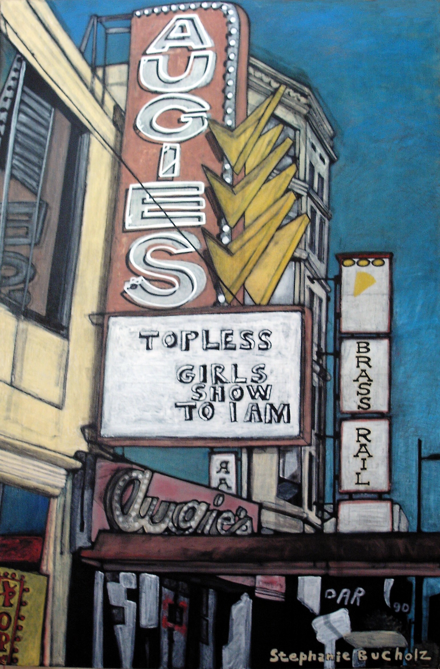 Augie's, 36 x 24, acrylic and marker on canvas