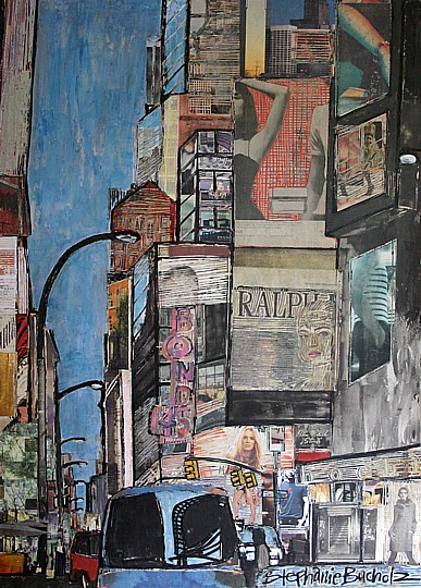 Broadway & 43rd, 28 x 36, acrylic, marker, mixed media, and collage on panel