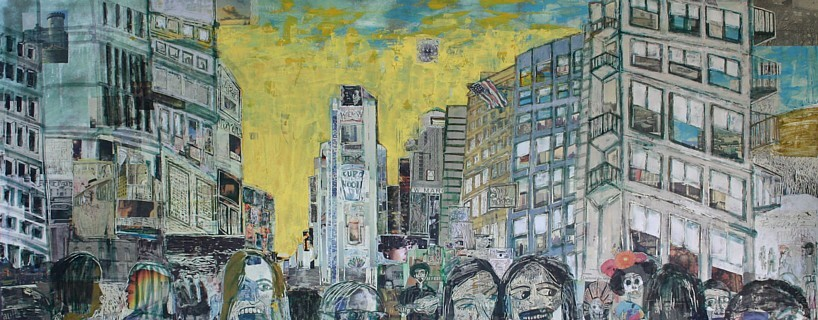 New York Times, 32 x 80, acrylic, marker, mixed media, and collage on panel