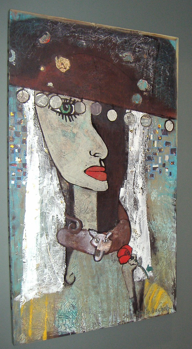 Part Pirate, Part Fool, 60 x 36, acrylic, marker, collage, modeling paste, & gold leaf on canvas