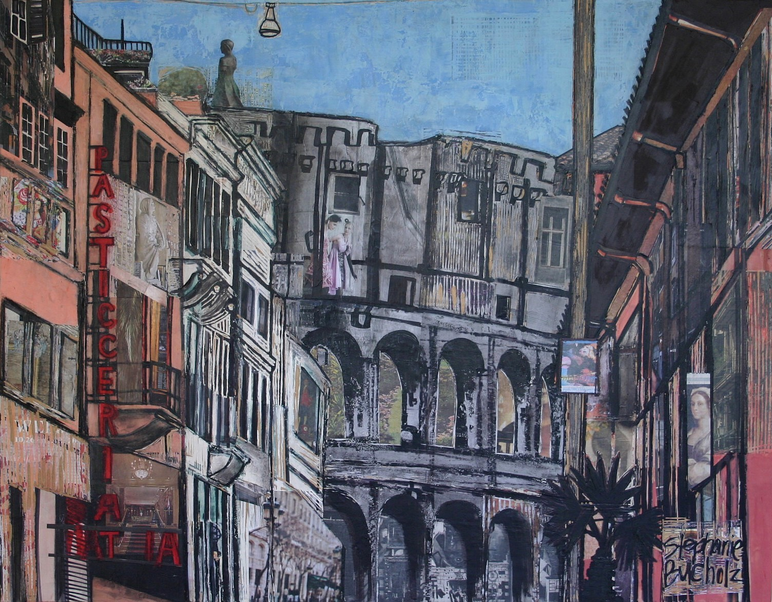 The Colosseum from Via di San Giovanni in Laterano, 28 x 36, acrylic, marker, mixed media and collage on panel