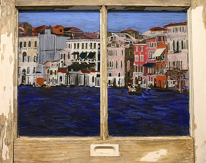 Touring the Grand Canal, 15 x 20, acrylic on an old window