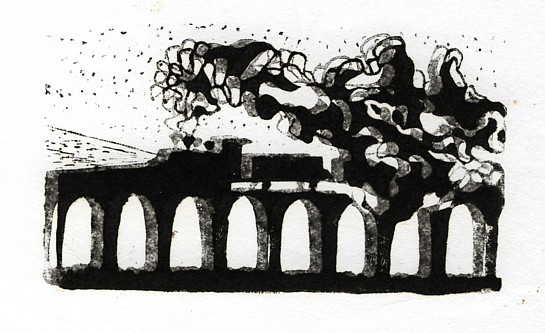 Train, linoleum print, 5 x 3 inches