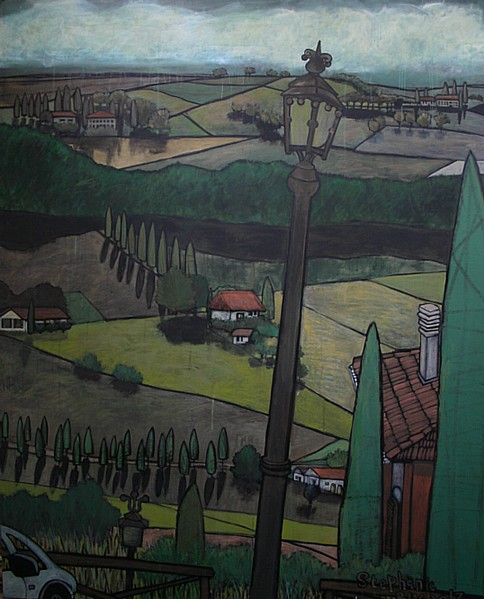 View from Montepulciano, 60 x 48, acrylic and marker on canvas
