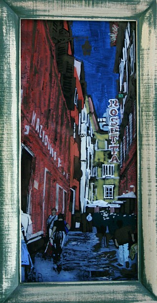Walking to the Piazza Navona, 12 x 5 1/2, acrylic on glass