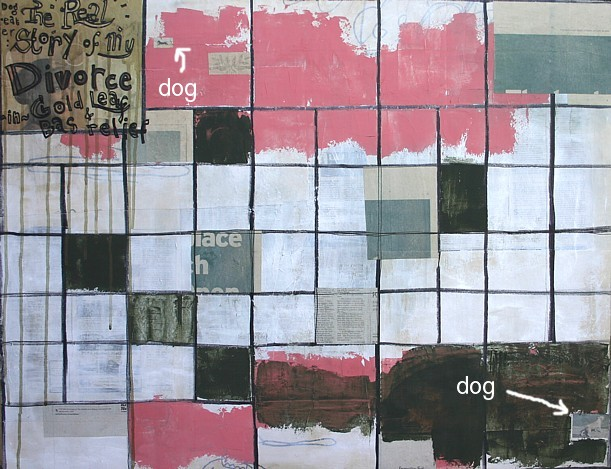 Dogeater, 36 x 28, acrylic, marker, & collage on panel